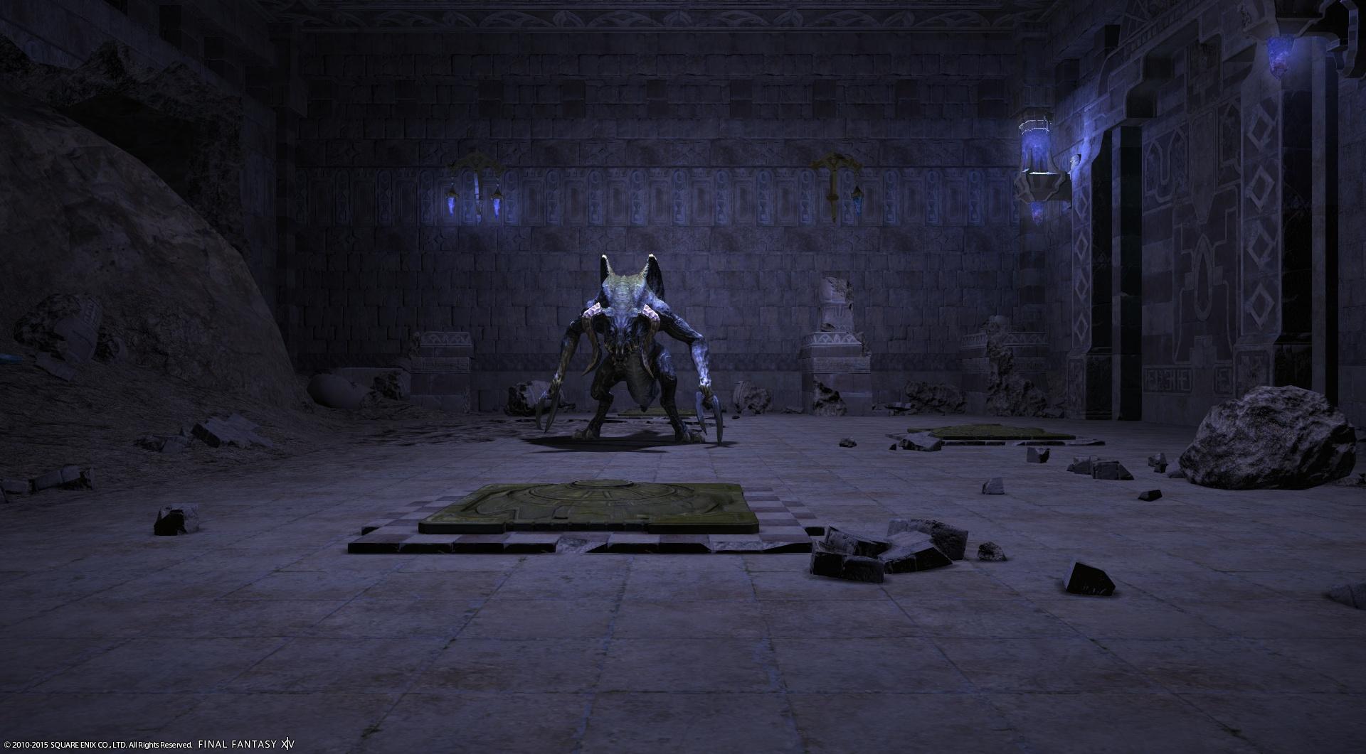 テラトタウルス序盤の中ボス。死の宣告(イモータルアイ)という即死技を使ってくるので、光る床を踏んでお祓いしましょう!
